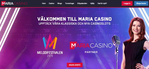 Startsida hos Maria Casino.